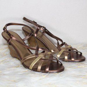 Golden Brown Wedge Sandals